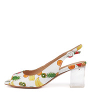 DEBINE Heeled Sandals in White Fruit Salad Leather