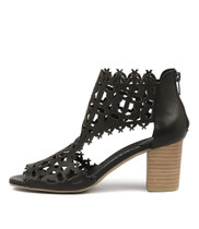 SHANON Heeled Sandals in Black Leather