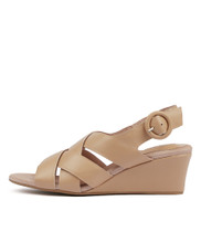 LORIN Wedge Sandals in Nude Leather