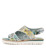 TASIAS Sandals in Blue Pastel Print Leather
