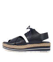 AVIE Flatform Sandals in Navy Leather
