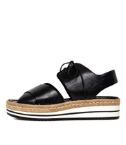 AVIE Flatform Sandals in Black Leather