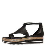 ANGELIC Flatform Sandals in Black Leather