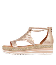 ANGELIC Flatform Sandals in Rose Gold Leather