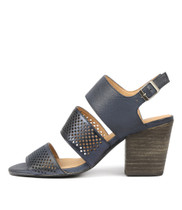 WANTES Heeled Sandals in Navy/ Metallic Leather