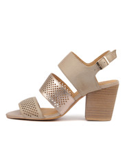 WANTES Heeled Sandals in Nude/ Rose Gold Leather