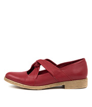 KAYCEEZ Flats in Red Leather