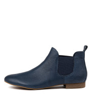 GLOBAL Ankle Boots in Navy Pin Punch Leather