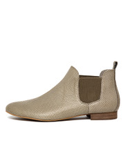 GLOBAL Ankle Boots in Khaki Pin Punch Leather
