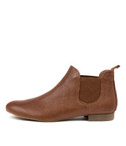 GLOBAL Ankle Boots in Cognac Pin Punch Leather
