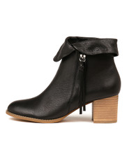 SHAREEDS Ankle Boots in Black Leather/ Natural Heel