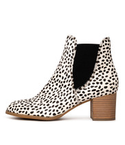 SADORE Ankle Boots in White/ Black Pony Hair