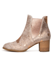 SADORE Ankle Boots in Nude/ Rose Gold Pony Hair