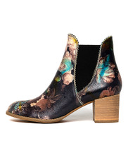 SADORE Ankle Boots in Black Floral Leather