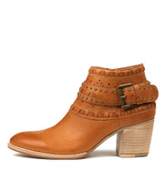 BENITO Ankle Boots in Dark Tan Leather