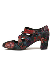 EMELDA High Heels in Black/ Floral Fabric
