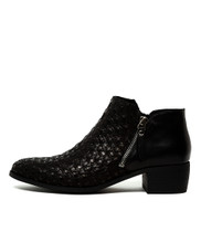 VENNIE Ankle Boots in Black Weave Leather