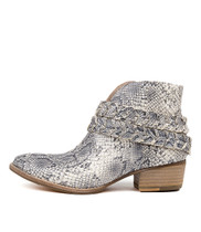 LILLA Ankle Boots in Natural Snake Leather