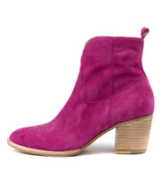 BERTHIE Ankle Boots in Fuchsia Suede