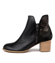 SHIANNELY Ankle Boots in Black Leather/ Pony Hair
