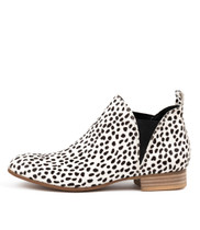 FOE Ankle Boots in White/ Black Pony Hair