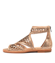 NORETA Sandals in Peach Crackle Leather