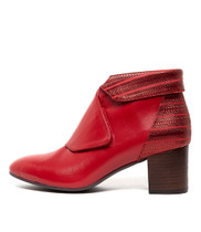 RAYANS Ankle Boot in Red Metal Leather