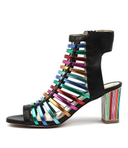 NARILLA Heeled Sandal in Black Bright Leather