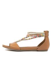 JAZMIN Flat Sandal in Dark Tan Multi