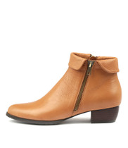 TWINZIP Ankle Boots in Dark Tan Leather