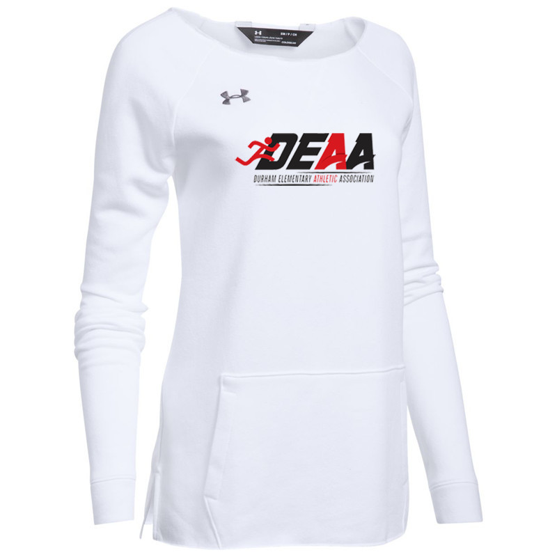 623af24235 DEAA Under Armour Women's Hustle Fleece Crew- White