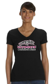 UCC Ladies V-Neck with Ultimate Canadian Cheer logo
