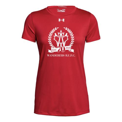AJX Under Armour Women's Short Sleeve Locker 2.0 Tee 70th anniversary logo- Red (AJX-025-RE)