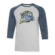 GPR ATC Adult Ring Spun Baseball Tee - Athletic Gray/Heather Navy (GPR-010-AG)