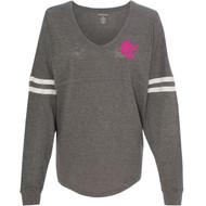 UCC Boxercraft Women's Slub Jersey Varsitee V-Neck Long Sleeve T-Shirt (UCC-234)
