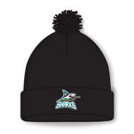 Scarborough Sharks Acrylic Knit Solid Pom Pom Toque - Black (SSH-052-BK.AK-A1830-001-OS)