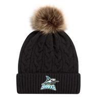 Scarborough Sharks AJM Faux Fur Pom Pom Toque - Black (SSH-053-BK)