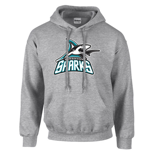 Scarborough Sharks Adult Heavy Blend Pullover Hooded Sweatshirt with Design 1 - Sport Grey (SSH-010-GY)
