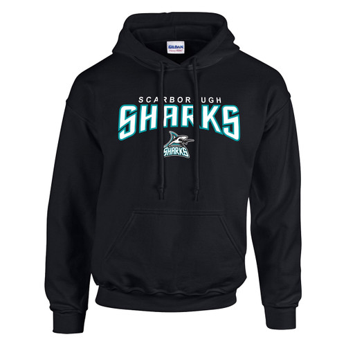 Scarborough Sharks Adult Heavy Blend Pullover Hooded Sweatshirt with Design 2 - Black (SSH-011-BK)
