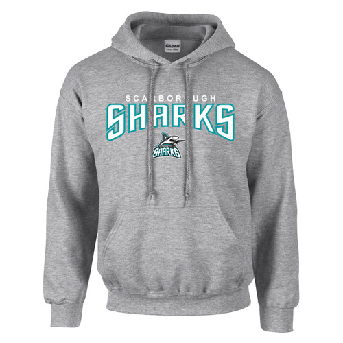 Scarborough Sharks Adult Heavy Blend Pullover Hooded Sweatshirt with Design 2 - Sport Grey (SSH-011-GY)