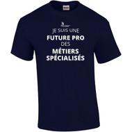 """SON Gildan Adult Ultra Cotton T-Shirt with """"Future Pro des MÉTIERS SPÉCIALISÉS"""" - Masculine Logo - Navy (French Version) (SON-004-NY)"""