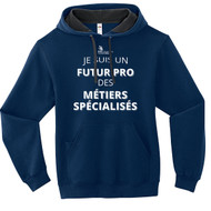 """SON Fruit of the Loom Adult SofSpun Hoodie with Futur Pro des MÉTIERS SPÉCIALISÉS"""" - Navy (French Version) (SON-005-NY)"""