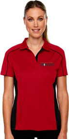 Harbourtown Sound Women's Polo Shirt - Red/Black (HTS-031-RE)