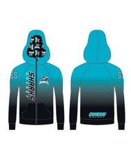 Scarborough Sharks AK Women's Sublimated Full Zip Jacket - Columbia Blue (SSH-204-CL.AK-ZAL3711PL)
