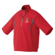 AJX Men's Powell Short Sleeve Half Zip Windshirt - Team Red/Grey Storm