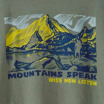 Men's Long Sleeve Nature Tees -  Mountains Speak Willow