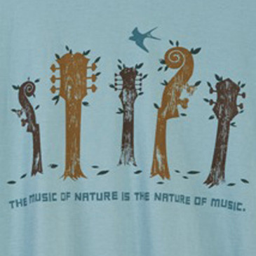 Men's Soft and Natural Organic T-Shirts - Nature of Music Sea Foam