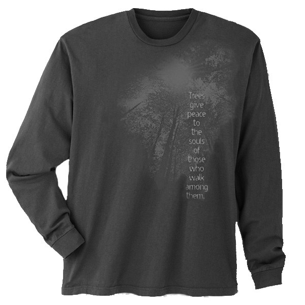 Men's Long Sleeve T-Shirts - Peace Trees Soft Black