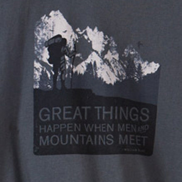 Men's Organic Hiking T Shirts - Men and Mountains Graphite