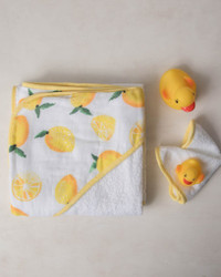 Hooded Towel and Washcloth- Lemon